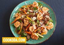 سالاد کینوآ با میگو   Quinoa Salad With Shrimp